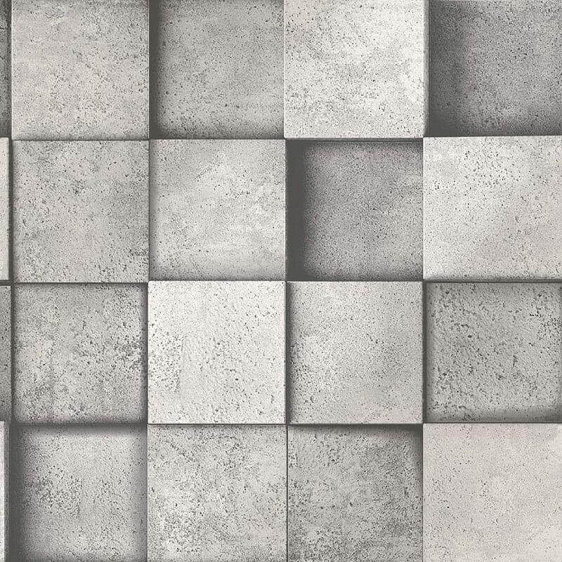 Image of 3D Effect Square Stone Brick Silver Grey Metallic Wallpaper - Fine Decor