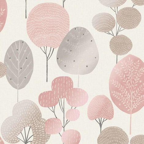 Fine Decor Wallpaper Scandi Forest Blush M1522