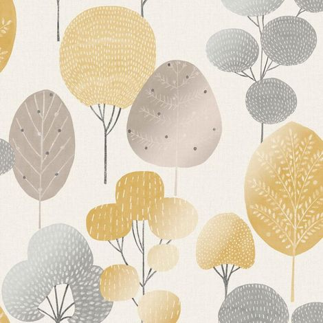 Fine Decor Wallpaper Scandi Forest Mustard M1530