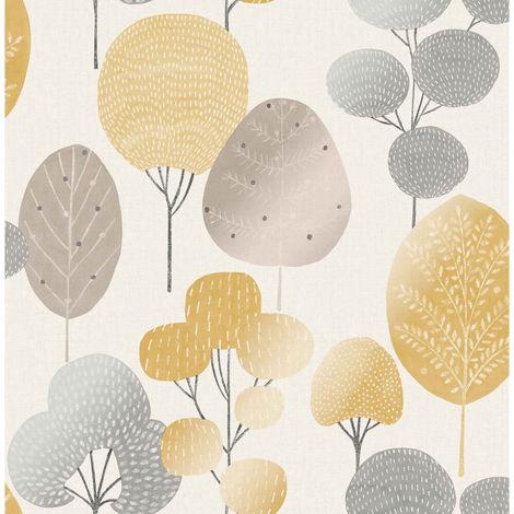 Fine Decor Wallpaper Scandi Forest Mustard M1530