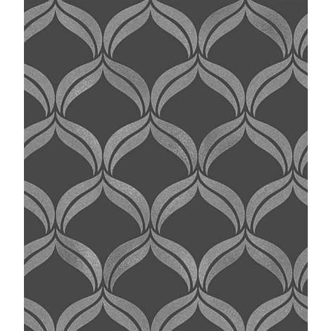Fine Decor Wentworth Black And Grey Diamond Glitter Wallpaper