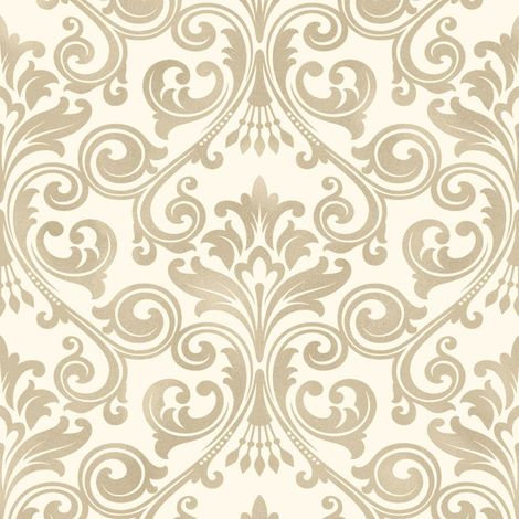 Fine Decor Wentworth Glitter Wallpaper Damask Cream & Gold FD41706