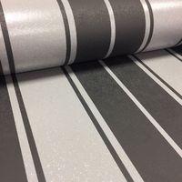 Fine Decor Wentworth Glitter Wallpaper Stripe Black & Silver FD41701