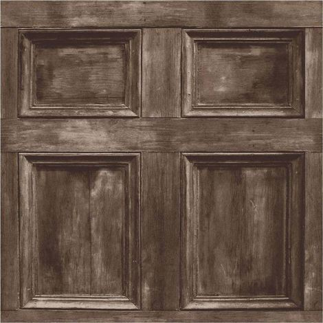 Fine Decor Wood Panel Dark Brown Realistic Door Wooden Wallpaper