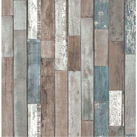 Fine Decor Wood Reclaim Wooden Log Natural Heavyweight Wallpaper