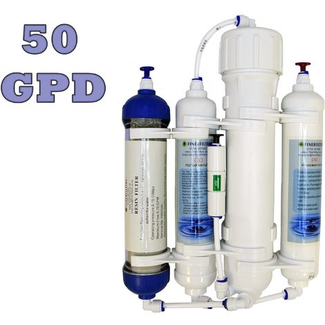 Finerfilters 4 Stage Compact Reverse Osmosis Unit with DI Chamber for Tropical/Marine/Discus (50 GPD)