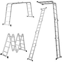 Finether 15.4 FT Extendable Aluminum Heavy Duty Multi-Purpose Step Ladder