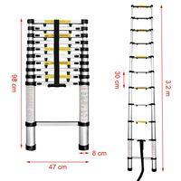 Finether 3.2M Portable Aluminum Telescoping Ladder 330 Lb Capacity