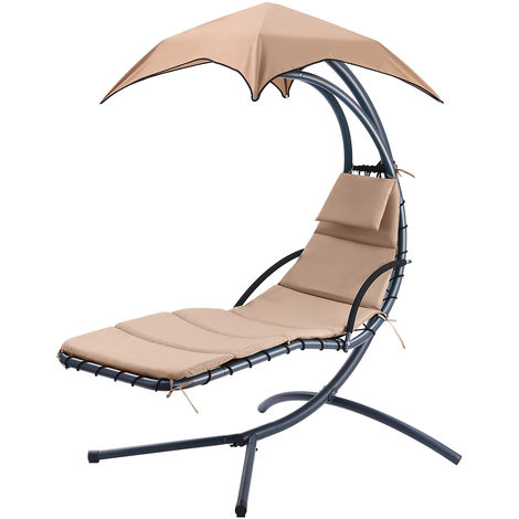 Finether Hanging Chaise Lounge Chair Outdoor Indoor Hammock Chair Swing with Arc Stand, Canopy and Cushion for Patio Beach Bedroom Yard Garden, Nail polish included for Scratch Repair, Beige