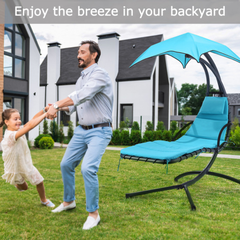Finether Hanging Chaise Lounge Chair Outdoor Indoor Hammock Chair Swing with Arc Stand, Canopy and Cushion for Patio Beach Bedroom Yard Garden, Nail polish included for Scratch Repair, Mint Green