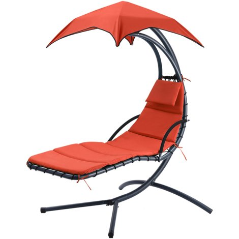 Finether Hanging Chaise Lounge Chair Outdoor Indoor Hammock Chair Swing with Arc Stand, Canopy and Cushion for Patio Beach Bedroom Yard Garden, Nail polish included for Scratch Repair, Orange