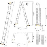 Finether Multi-Purpose Ladder: 19 FT/5.7 M Extendable Aluminium Folding Ladder with Non Slip Ladder Rubber Feet