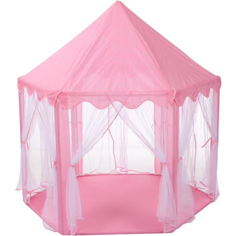 Finether Princess Castle Tente de jeu pour filles, Tente Princess grand modèle hexagonal, Maison de jeu portable pour l'intérieur et l'extérieur, Se plie dans un sac de transport, Cadeau pour enfants, Rose