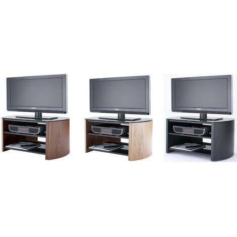 "Finewoods Real Wood Veneer & Glass TV Stand 3 Shelf Unit Black Up To 32"" Screen"