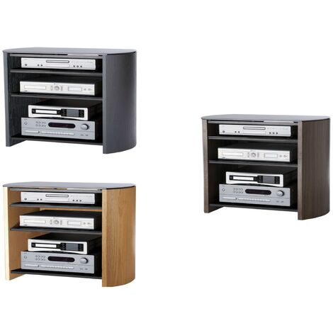 "Finewoods Real Wood Veneer & Glass TV Stand 4 Shelf Unit Light Oak Up To 32"" Screen"