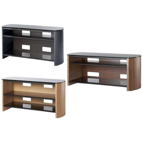 """Finewoods Real Wood Veneer & Glass TV Stand Unit Black Up To 58"""" Screen"""