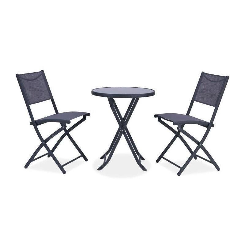 FINLANDEK - Ensemble salon de jardin 2 places - Table ronde pliable ...