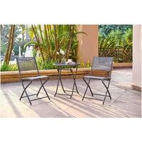 FINLANDEK - Ensemble salon de jardin 2 places - Table ronde pliable plateau  verre trempé chaises pliantes acier - Gris anthra...