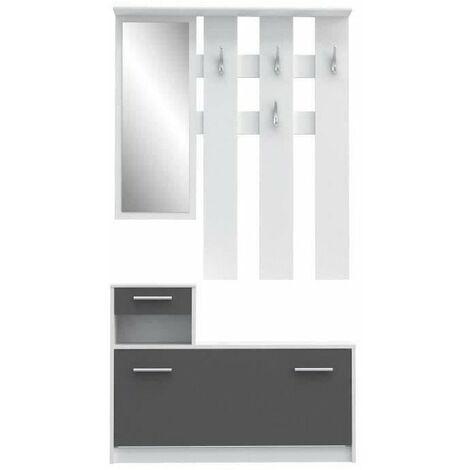FINLANDEK Vestiaire d'entrée PEILI contemporain blanc et gris mat - L 97,5 cm