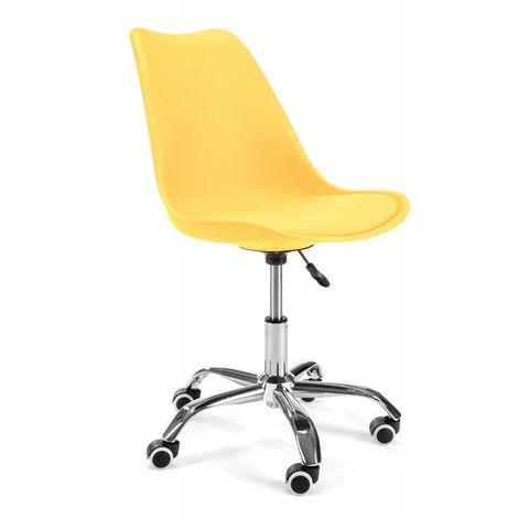 FINLEY   Chaise Fauteuil de bureau à roulettes design scandinave enfant H 45/55 cm   Dossier ergonomique + assise confortable - Jaune