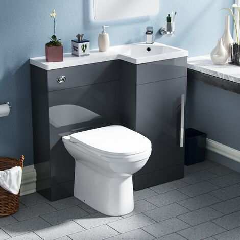 Finn 900mm Right Hand Basin Combination Vanity Unit Welbourne Back To Wall Toilet Dark Grey