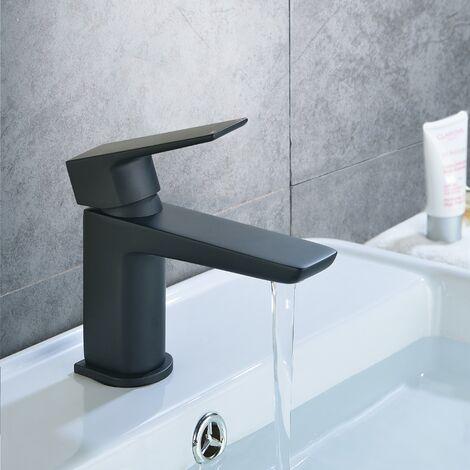 "main image of ""Finn Bathroom Basin Mono Mixer Tap & Waste Black Matte"""