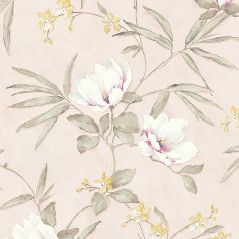Fiore Blush Floral Wallpaper Pink White Pastel Embossed Textured Vinyl Non-Woven
