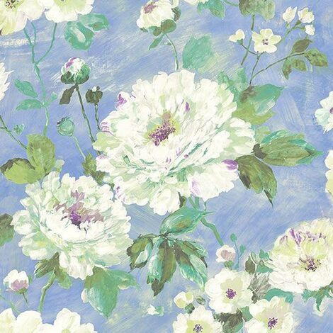 Fiore Floral Wallpaper Hand Painted Blue White Flowers Embossed Textured Vinyl