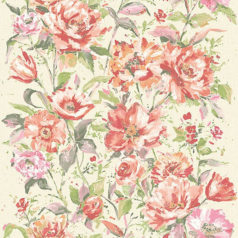 Image of Fiore Red Coral Green Beige Floral Botanic Wallpaper Water Colours Textured Vinyl