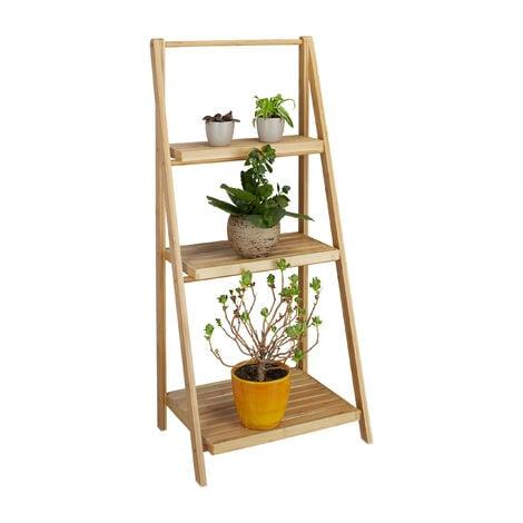 fioriera a scala 3 piani bamb pieghevole scaffale a