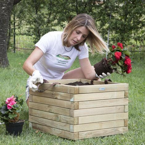 Fioriera BAC legno 50 x 50 sp.4 cm con rivestimento e maniglie - Garanzia 5 anni
