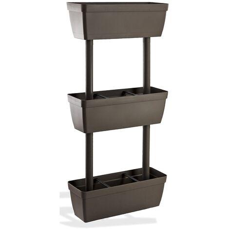 """main image of """"Fioriera verticale componibile 3 vasi kit vasi orto 49x16,1xH100cm tortora fiori"""""""