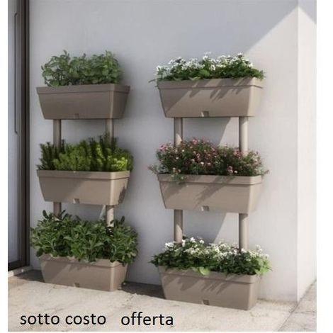 Fioriera verticale kit 3 vasi orto componibile 50 x 17 x h for Fioriera verticale ikea