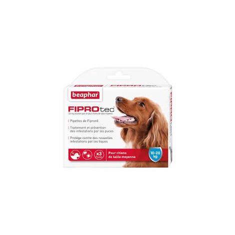 Fiprotec 134 mg, solution spot-on pour chiens de taille moyenne (10-20 kg) au fipronilcontre puces et tiques - 3 x 1,34 ml