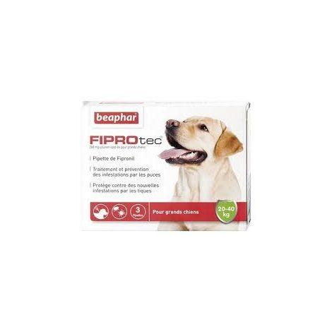 Fiprotec 268 mg, solution spot-on pour grands chiens (20-40 kg) au fipronil contre puces et tiques - 3 x 2,68 ml