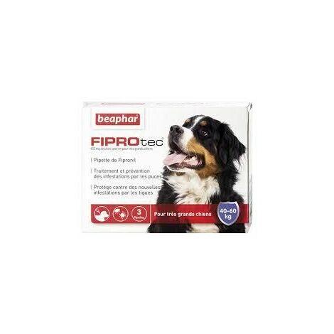 Fiprotec 402 mg, solution spot-on pour très grands chiens (40-60 kg) au fipronil contre puces et tiques - 4 x 4,02 ml