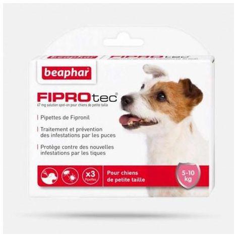 Fiprotec 67 mg, solution spot-on pour chiens de petite taille (5-10 kg) au fipronilcontre puces et tiques - 3 x 0,67 ml