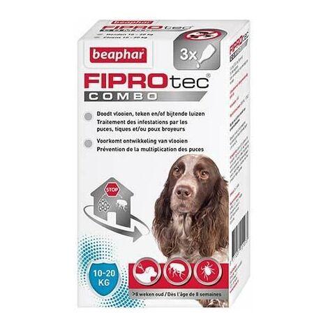 Fiprotec combo 134 mg/120,6 mg, solution pour spot-on pour chiens de taille moyenne (10-20 kg) fipronil/(S)-méthoprène contre puces, tiques et poux broyeurs - 3 x 1,34 ml