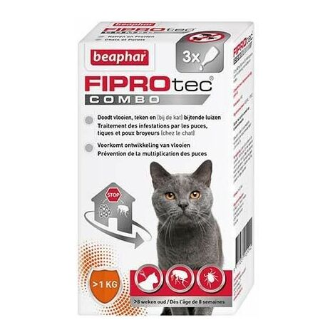 """main image of """"Fiprotec combo 50 mg / 60 mg, solution pour spot-on pour chats et furets au fipronil /(S)-méthoprène contre puces, tiques et poux broyeurs - 3 x 0,5 ml"""""""