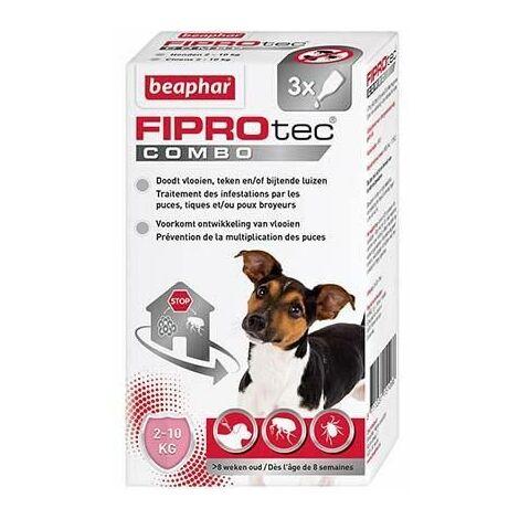 Fiprotec combo 67 mg/60,3 mg, solution pour spot-on pour petits chiens (2-10 kg) au fipronil/(S)-méthoprène contre puces, tiques et poux broyeurs - 3 x 0,67 ml