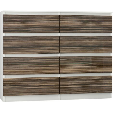 FIRA W2   Commode contemporaine chambre salon bureau   140x40x98   8 tiroirs   Meuble rangement séjour   Dressing /Chiffonier - Blanc/Zebrano