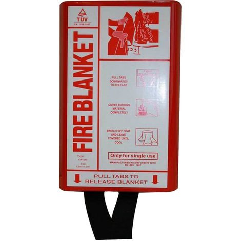 Fire Blanket In PVC Box (One Size) (Red/White)