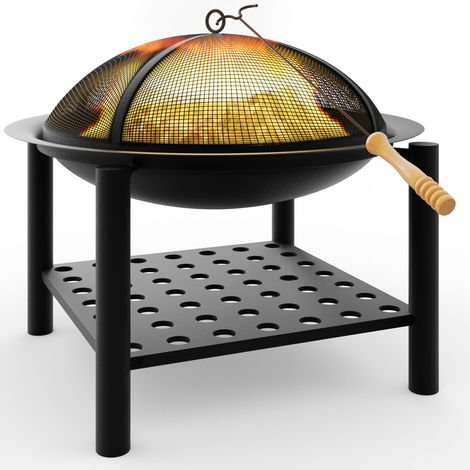Fire Bowl Pit Basket Stainless Steel BBQ Garden Grill Brazier Heating Wood Charcoal 55x50cm Lid Hook
