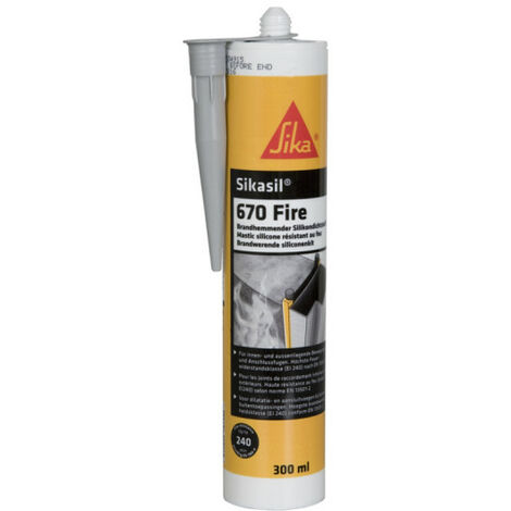 Fire classified putty for expansion joints and caulking - SIKA Sikasil 670 Fire - Grey - 300ml