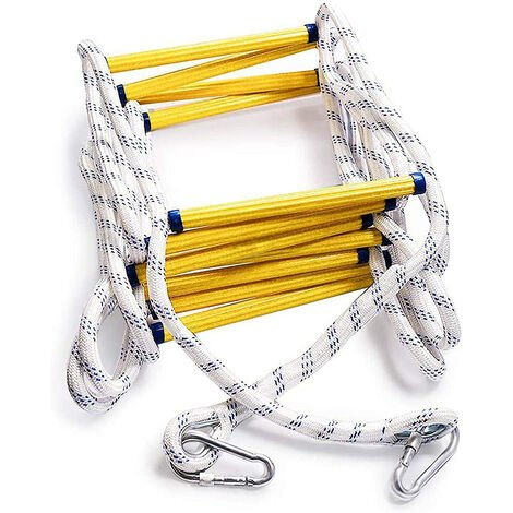 """main image of """"Fire Escape Rope Ladder Heavy Duty Fire Safety Ladder with Carabiners, 3M"""""""