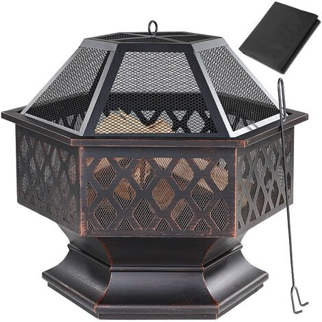 Fire Pit 70x60.5cm Log Garden Patio Outdoor Firepit Heater Brazier Burner Black