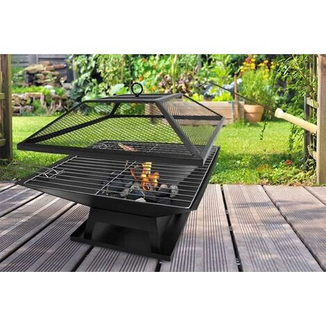 """main image of """"FIRE PIT BBQ GRILL HEATER OUTDOOR GARDEN SQUARE FIREPIT BRAZIER PATIO OUTSIDE"""""""