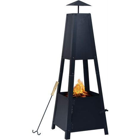 Fire Pit Black 35x35x99 cm Steel