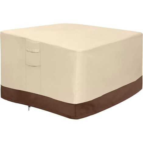 Fire pit cover, 100% waterproof square gas fire pit table cover, outdoor heavy duty lawn patio furniture cover with vents and handles, 36 inches long x 36 inches wide x 20 inches high, beige and brown h