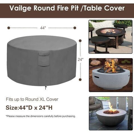 Fire pit cover, 100% waterproof square gas fire pit table cover, outdoor heavy duty lawn patio furniture cover with vents and handles, 36 inches long x 36 inches wide x 20 inches high, beige and brown k